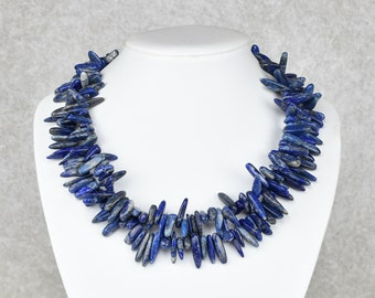 Unique: Wild two-row lapis lazuli tooth chain