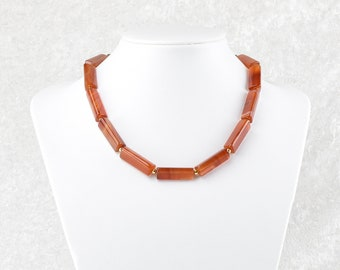 Unique: Carnelian chain made of geometric rollers