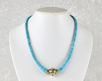 Unique: Delicate turquoise chain with Chinese cloisonné ball