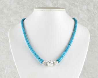 Unique: Delicate turquoise chain with silver ensemble