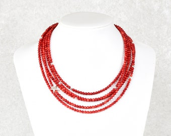 Unique: 5-row bamboo coral necklace with silver star