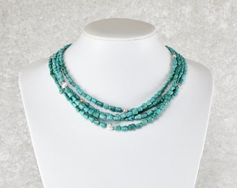 Unique: Delicate four-row turquoise necklace with silver snail