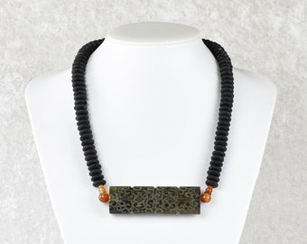 Unique: Lava chain with jade middle section and carnelian