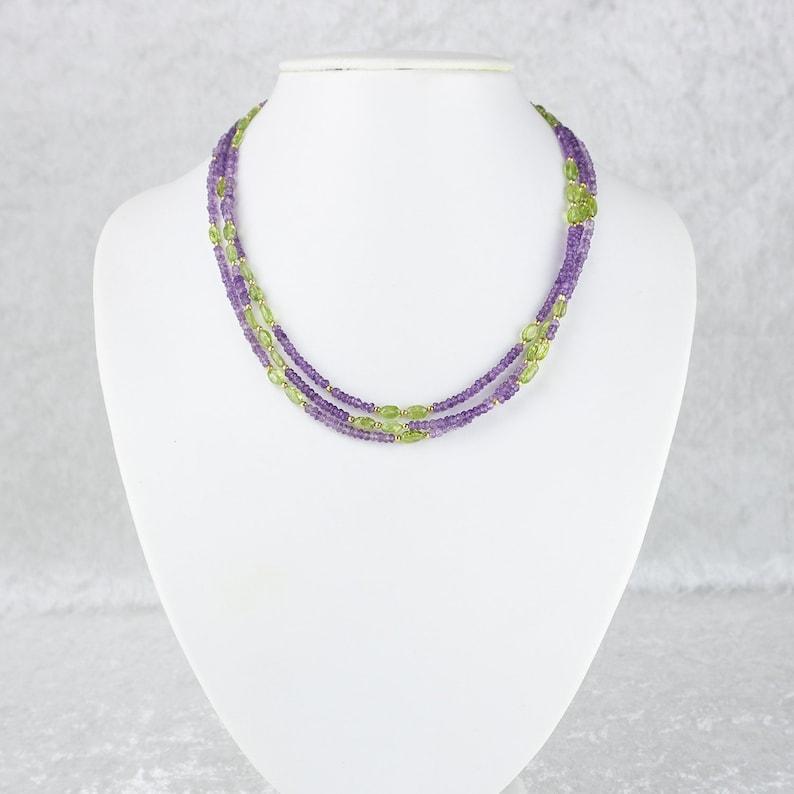Crystal Jewelry Feminine Multi-Strand Amethyst and Peridot Necklace \u2013 Amethyst Jewellery