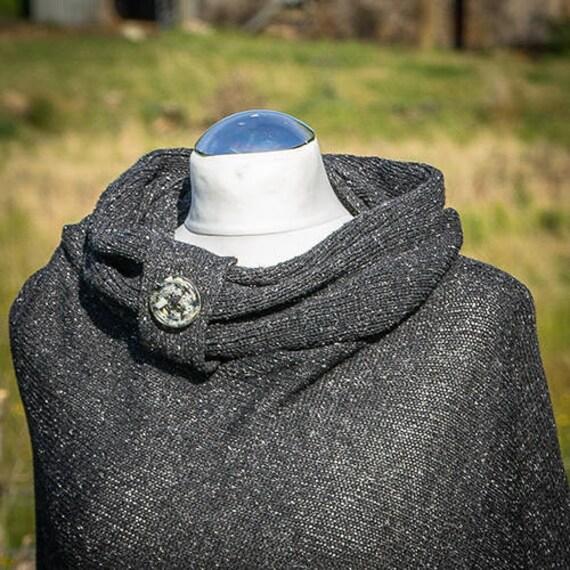 Tweed noir laine mérinos de soie col tricoté, snood femme, boho foulard sur  la tête, ... 532417441e8