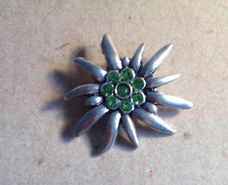 Brooch Edelweiss light green