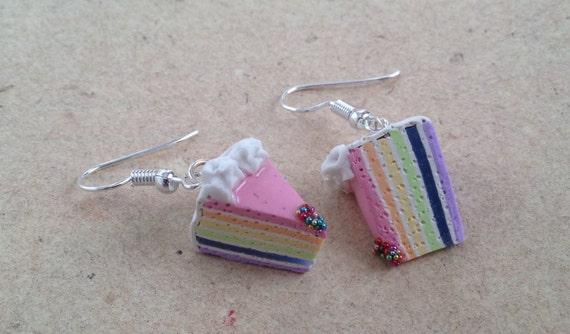 Regenbogen Torte Pastell Ohrringe Für Fabelwesen Einhörner Etsy
