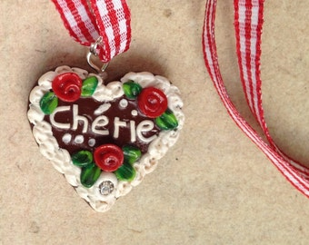 "Necklace ""chèrie"" red Oktoberfest, Gingerbread Heart"