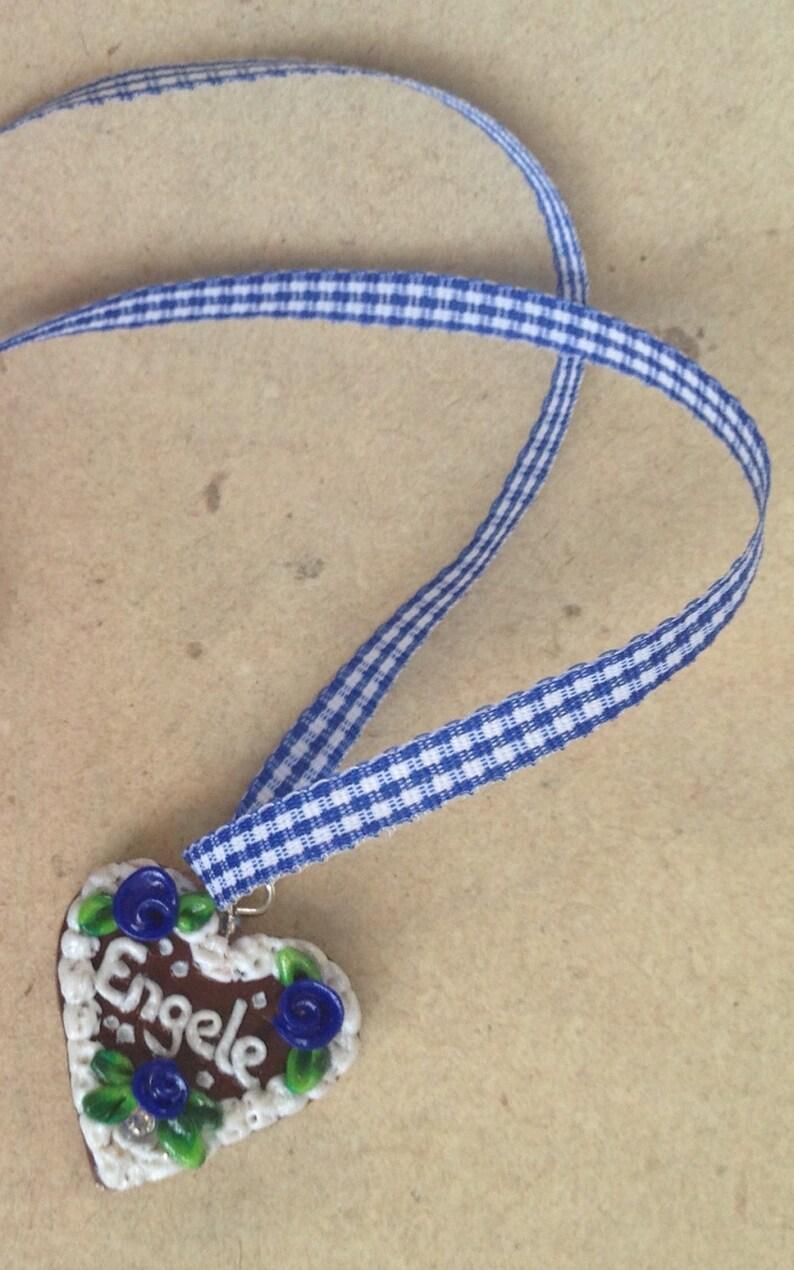 Necklace Engele blue Gingerbread Heart Oktoberfest small