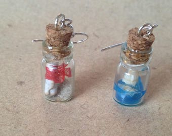 Earrings South Sea holiday in the bottle, sea, shells, bottle mail and a little holiday sand