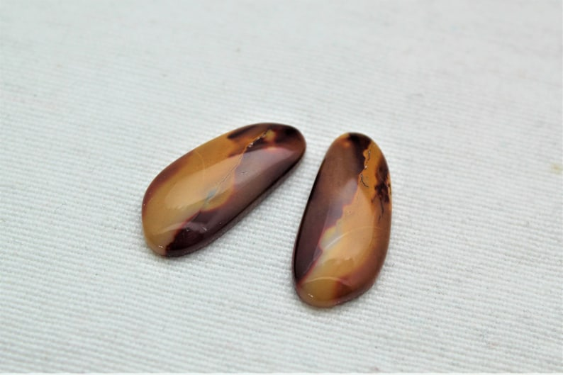 Matching pair of Mookaite Cabochons red Gemstones