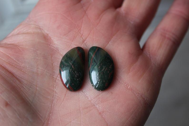 P1230 Gemstones green Pair of Ocean Jasper cabochons