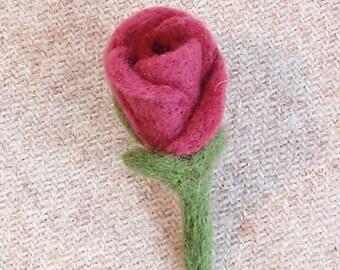 Pink felt rosebud brooch in gift box, needlefelt corsage. Mother's day
