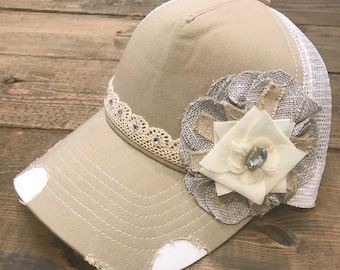 Tan and white trucker hat