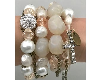 Pearl and brass bracelet stack