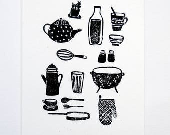 In the Kitchen - linocut black and white