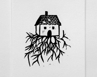 Being uprooted - linocut black and white