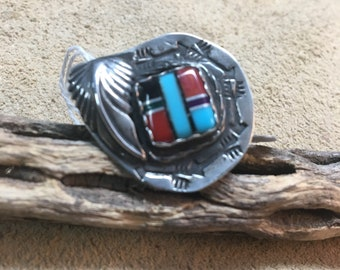 Mosaic turquoise coral onyx ring