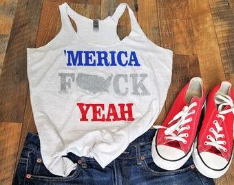 3d18a094c98 Patriotic Tank Top - Merica Fuck Yeah Tank Top - Woman s Merica Shirt - USA  Shirt - Patriotic Womans Clothing - Cute 4th of July tank