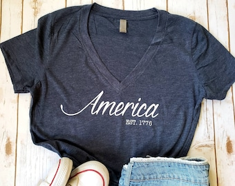 4th of July Shirt - Woman's 4th of July Shirt - America Shirt - Patriotic Shirt - Fourth of July V-Neck - Woman's Clothing - Merica' Shirt
