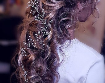Long Hair Vine Bridal Wedding Hair Vine Crystal Hair Peice Bridal Jewelry Hair vine wedding hair vine for bride 8 color bead 3 color wire
