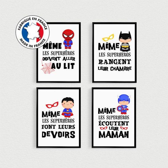 Promo Lot De 4 Posters Citations Super Heros Pour Enfant A Etsy