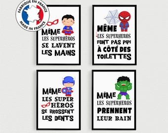 Child bathroom decoration, 4 Posters superhero quotes to be disposed of in a bathroom, boy gift