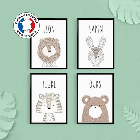 Nursery Decoration Batch Of 4 Animal Posters Quotes In French Birth Gift Rabbit Poster Baby Room Baby Shower