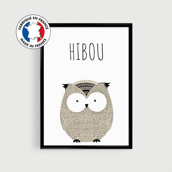 Poster Quotes In French Of Animal Owl Scandinavian For Nursery Or Babyshower Gift Or Baby Room