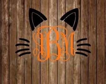 Cat Ear Monogram Decal-Ear Monogram Decal-Halloween Decal-Meow-Cat Decal-Monogram Decal-Yeti Decal-Laptop Decal-Window Decal-Car Decal