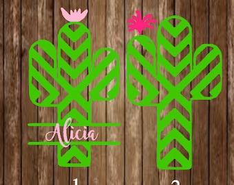 Cactus Decal-Cactus Monogram Decal-Cactus Yeti Decal-Monogram Decal-Cactus Car Decal-Aztec Cactus-Aztec Decal-Custom Decal-Monogram-Decal