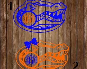 Florida Gators Monogram Decal-Gator Monogram Decal-Florida Gator Monogram-Gator Football Monogram-Gator Decal-Yeti Decal-