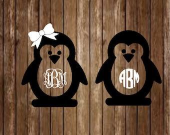 Penguin Monogram Decal-Penguin Decal-Monogram Decal-Custom Decal-Custom Monogram-Penguin-Yeti Decal-Custom Decal-Monogram-Laptop Decal