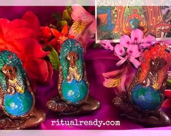 "3"" Asase Yaa Muva Earth Gaia Mama Earth Handpainted Figurine"