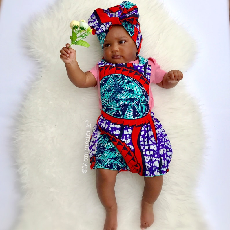 94ba450599093f Ankara baby romper and headwrap   kitenge kids outfit  robe