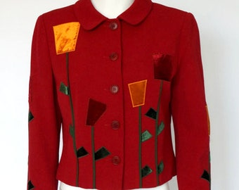 Moschino Cheap & Chic rare vintage blazer/jacket red/ styled flowers. Exquisite !
