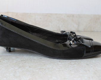 Chanel ballerina flats with kitten heel, patent leather & suède size 36,5 EU