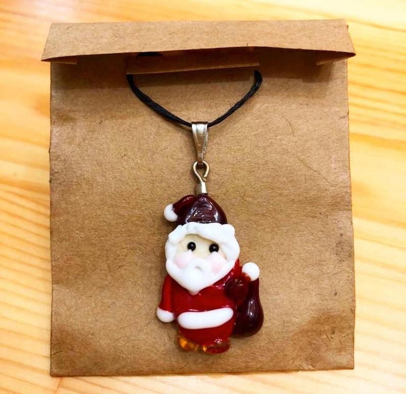 Glass Necklace Santa Claus