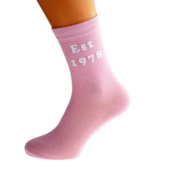 Pink Birthday Celebration Cotton Novelty Socks Est 1988 Hot Pink Socks