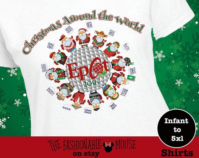 Epcot Santa Shirt, Disney Christmas Tee