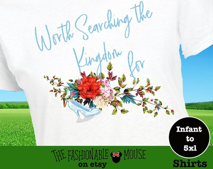 Disney Cinderella Tee, Disney Princess Tee, Glass Slipper Shirt, Magic Kingdom Shirt, Disney Fairytale Tee, Disney Floral Shirt