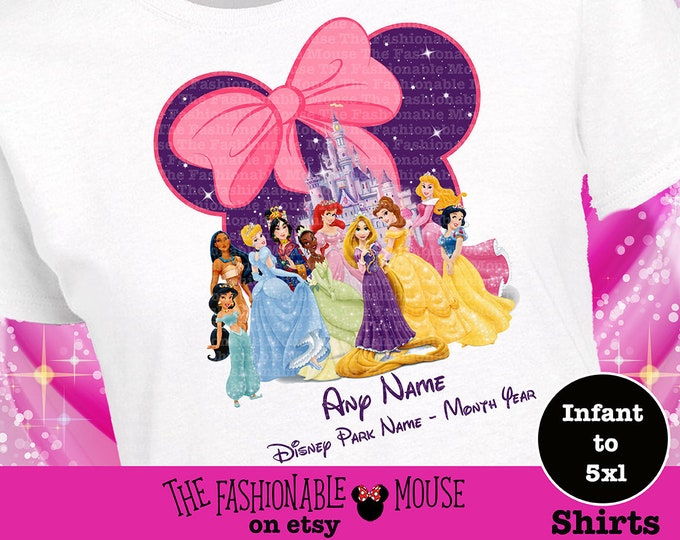 Disney Princess Tee, Disney Princess  Mouse Head Shirt, Disney Princess Shirt, Snow White Shirt, Belle Shirt, Cinderella Shirt, Ariel Shirt