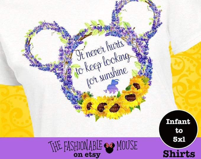 Eeyore Shirt, Disney Flower Shirt, Epcot Garden Shirt, Epcot Floral Shirt, Sunflower Shirt,  Disney Floral Shirt, Disney Sunshine Shirt