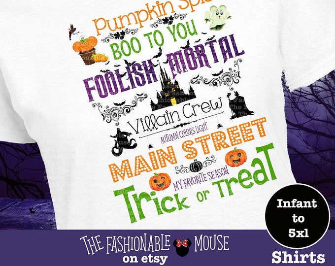 Disney Halloween Shirt, Disney Halloween Tank, Haunted Castle Shirt, Foolish Mortal Shirt, Boo To You Shirt, Villain Crew Shirt, MNSSHP Tank