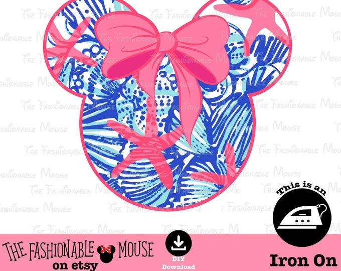 Disney Star Fish Iron On, Disney Beach Print, Disney Floral Iron On,