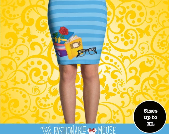 Belle Inspired Peculiar Girl Pencil Skirt, Beauty And The Beast Skirt, Disney Skirt,