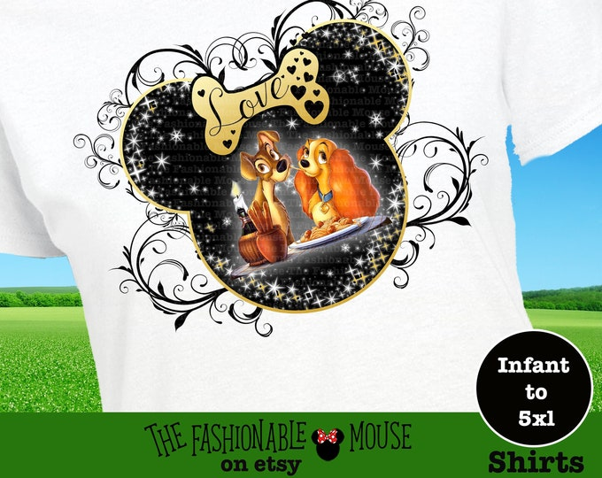 Disney Lady and the Tramp Shirt, Disney Amore Shirt, Disney Dog Lovers Shirt, Disney Shirt for Lovers
