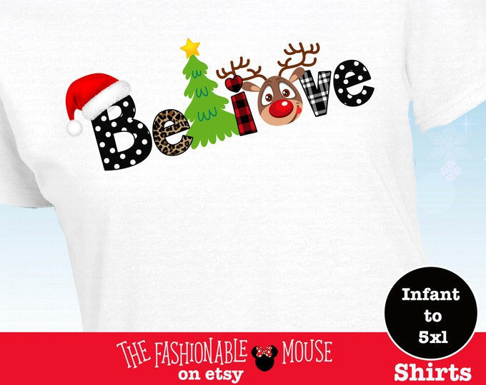 Disney Believe In Christmas Shirt, Disney Reidneer Shirt, Disney Christmas Shirt,