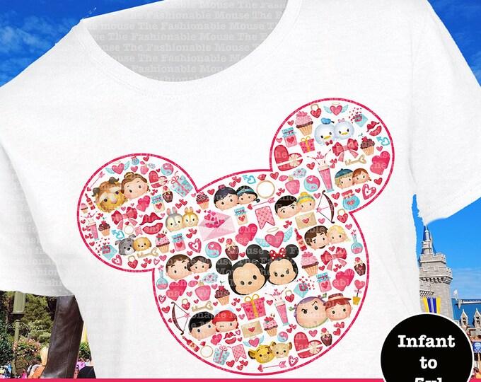 Disney Valentines Day, Mickey and Minnie, Disney Love Shirt, Disney Couples Shirt, Disney Tsum Tsum Stack Shirt, Disney Valentines Shirt