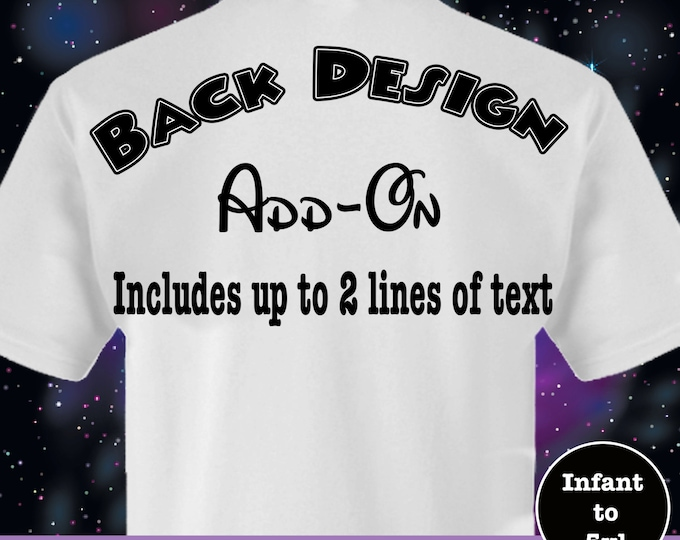 Back Design Add On Option up to 2 Lines of Text